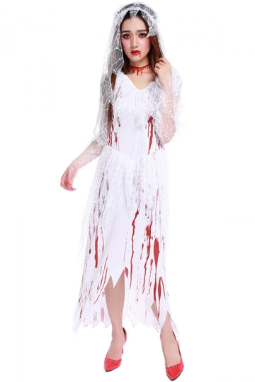 Womens High Low Irregular Halloween Corpse Bride Costume White