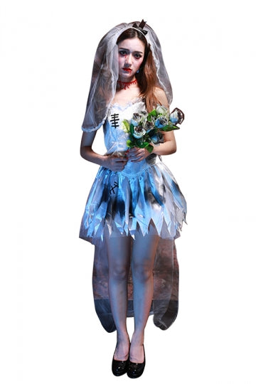 Womens Spaghetti Straps Cosplay Halloween Corpse Bride Costume White