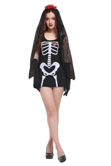 Womens Skeleton Printed Halloween Corpse Bride Costume Black