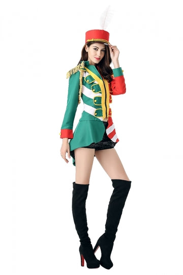 Womens Color Block Long Sleeve Halloween Circus Costume Green
