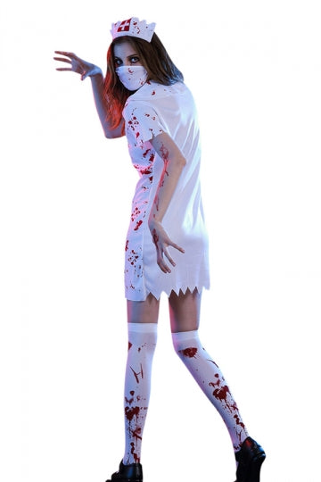 Womens Irregular Halloween Bloody Zombie Nurse Costume White