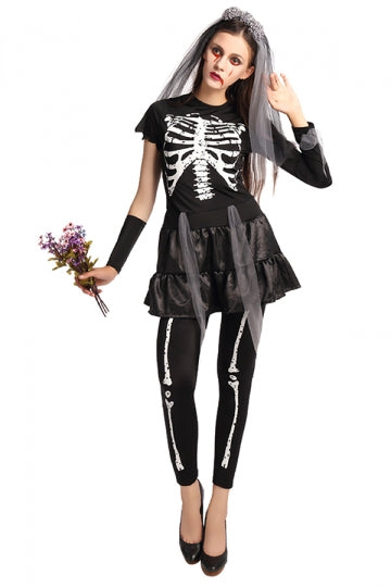 Womens Skeleton Printed Corpse Bride Halloween Costume Black