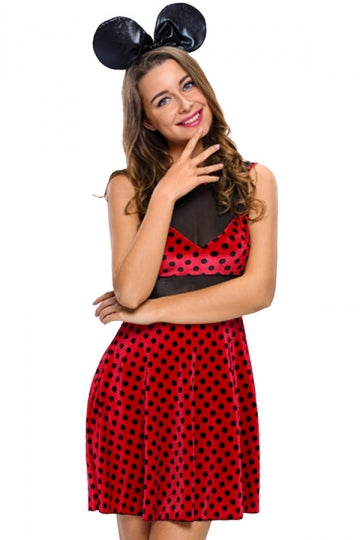 Womens Polka Dot Minnie Mouse Halloween Cartoon Costume Red