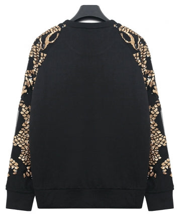 Black Cool Womens Scale Pattern Sequin Pullover Plain Sweatshirt