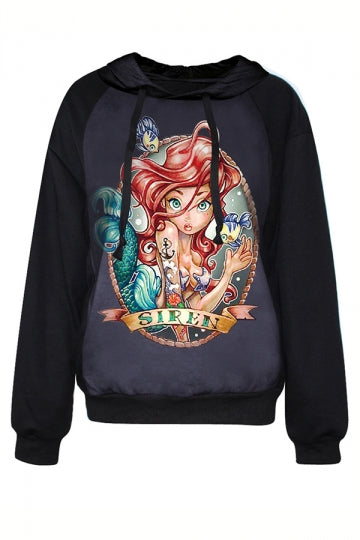 Black Pullover Halloween Ladies The Little Mermaid Printed Hoodie