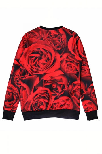 Black Chic Ladies Skull Rose Printed Pullover Halloween Sweatshirt