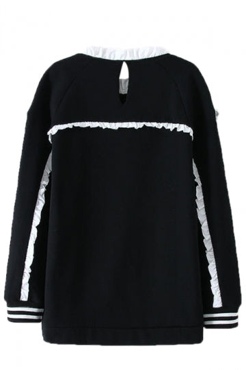 Black Chic Womens Lace Pullover Crew Neck Printed Sweatshirt