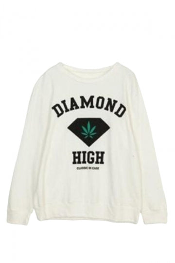 White Ladies Pullover Crew Neck Diamond Printed Sweatshirt