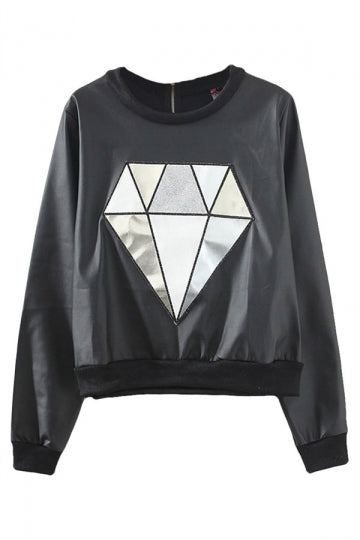Black Modern Ladies Crew Neck Pullover Diamond Leather Sweatshirt