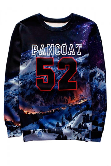 Blue Pancoat 52 Printed Crew Neck Pretty Ladies Sweatshirt