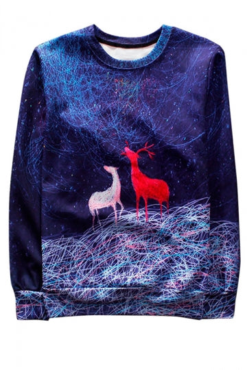Blue Reindeer Printed Crew Neck Pretty Ladies Sweatshirt