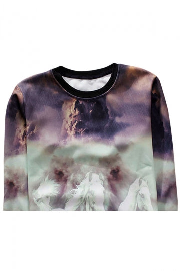 Purple Crew Neck Pretty Horse Printed Ladies Sweatshirt