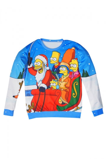 Womens The Simpsons Printed Ugly Christmas Sweatshirt Blue