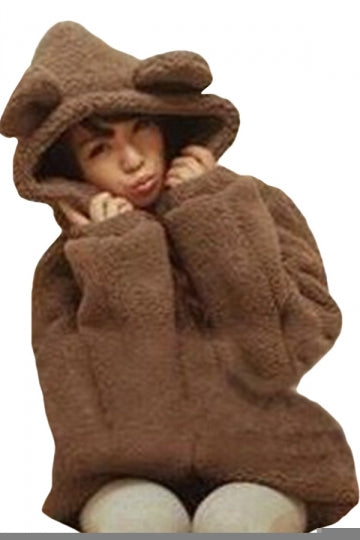 Womens Cute Hooded Long Sleeve Bear Sweatshirt Brown