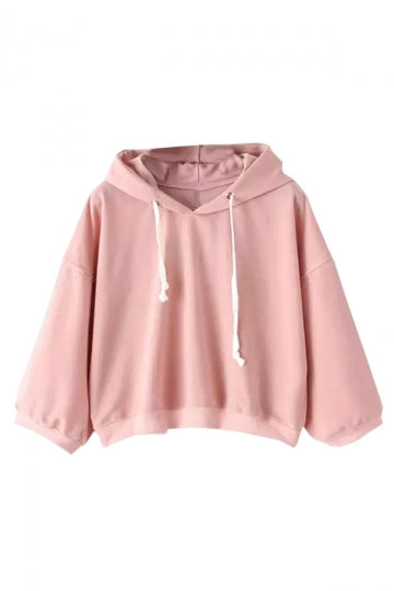 Womens Casual Hooded Short Pullover Sweatshirt Pink