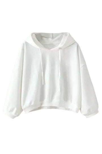 Womens Casual Hooded Short Pullover Sweatshirt White