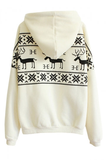 Womens Fair Isle Deer Printed Long Sleeve Christmas Hoodie Beige White