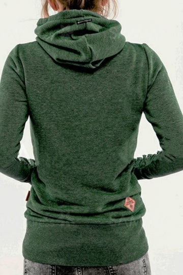 Womens Stylish Long Sleeve Pocket Design Embroidered Hoodie Green