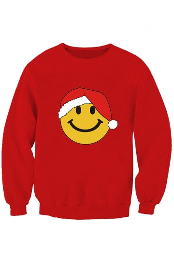 Womens Emoji Smile 3D Print Long Sleeve Christmas Sweatshirt Red