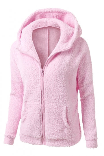 Womens Zip Up Long Sleeve Plain Fleece Jacket Hoodie Pink