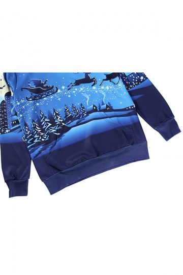 Womens Pullover Reindeer Printed Long Sleeve Christmas Hoodie Blue