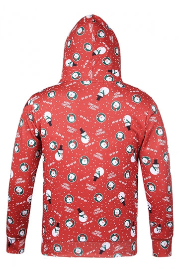 Womens Snowman Printed Long Sleeve Pullover Christmas Hoodie Red