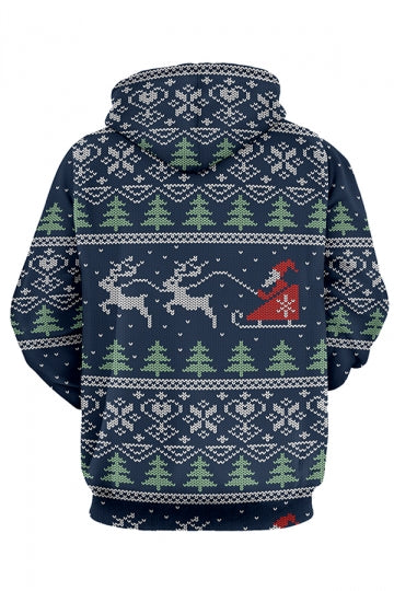 Womens Christmas Tree Reindeer Printed Long Sleeve Pocket Hoodie Black