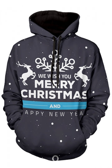 Womens Merry Christmas Reindeer Printed Long Sleeve Hoodie Black