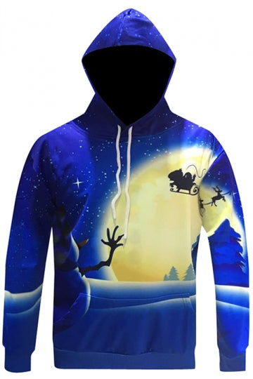 Womens Long Sleeve Christmas Night Printed Drawstring Hoodie Blue