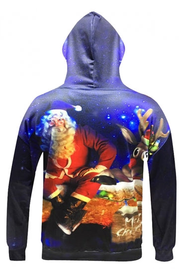 Womens Christmas Santa Reindeer Printed Long Sleeve Hoodie Red