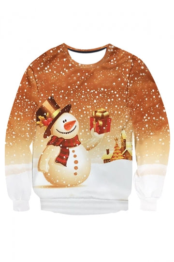 Womens Snowman Printed Pullover Long Sleeve Christmas Sweatshirt Brown