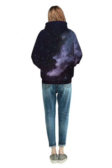 Starry Galaxy Digital Printed Hoodie Black