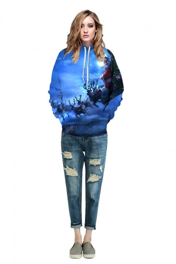 Digital Printed Santa Claus Christmas Hoodie Blue