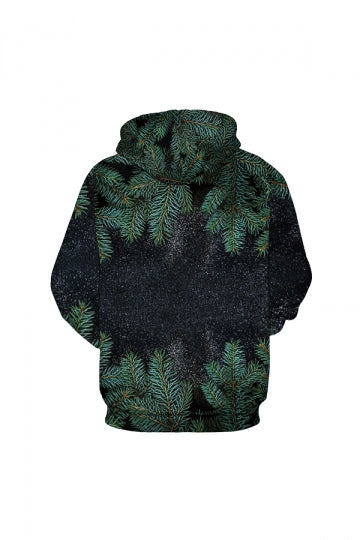 Digital Printed Tree Leaves Hoodie Dark Green