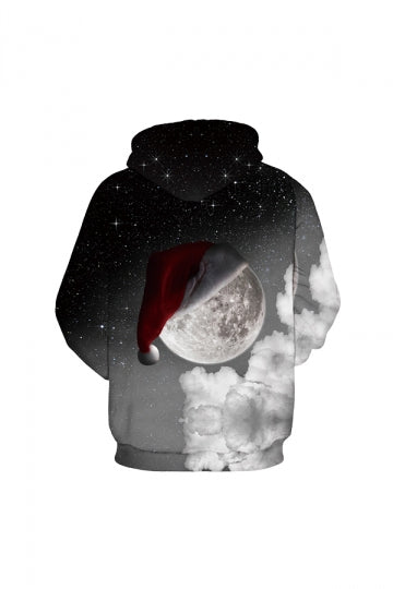 Digital Printed The Moon Christmas Hoodie Gray