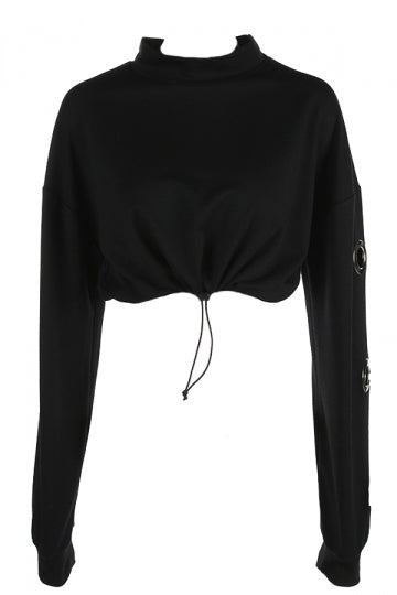Sexy Draw String Waist Long Sleeve Crop Sweatshirt Black