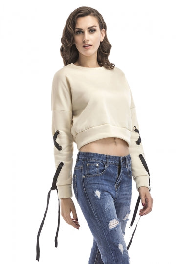 Sexy Crew Neck Lace Up Sleeve Crop Sweatshirt Beige