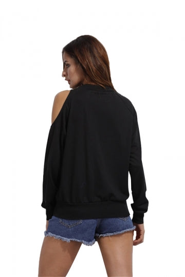 Black Asymmetric Cold Shoulder Raglan Sleeve Sweatshirt