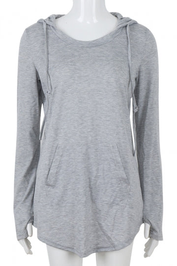 Women Plain Drawstring Hoodied Sweatshirt With Kangaroo Pocket Gray