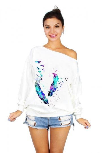Women One Shoulder Feather Printed Lined Sweatshirt White
