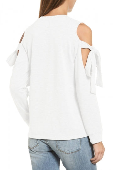 Cold Shoulder Bow-Tie Long Sleeve Crew Neck Plain Sweatshirt White