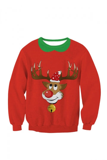 Womens Crew Neck Pullover Reindeer Printed Christmas Sweatshirt Red