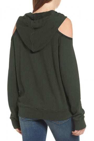 Womens Cold Shoulder Pocket Long Sleeve Drawstring Hoodie Army Green