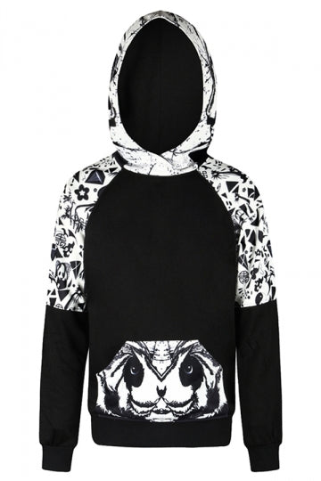 Womens Panda Printed Raglan Sleeve Kangaroo Pocket Hoodie Black And White