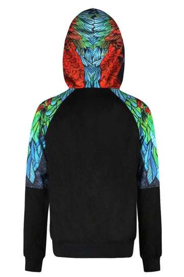 Womens Parrot Printed Raglan Sleeve Kangaroo Pocket Hoodie Blue