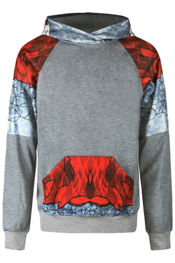 Womens Fox Printed Raglan Sleeve Kangaroo Pocket Hoodie Red