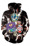 Halloween Alien Skull Printed Drawstring Kangaroo Pocket Hoodie Blue