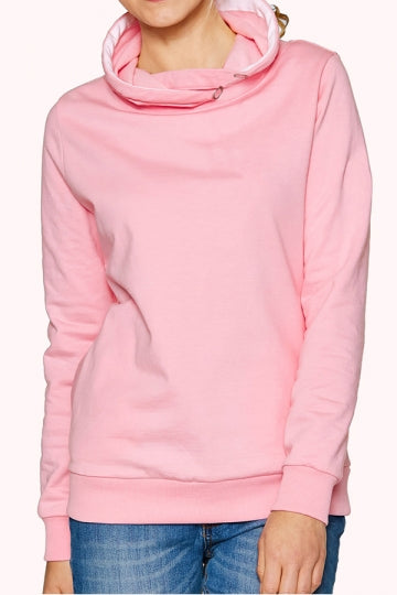 Womens Eyelet Stand Collar Long Sleeve Pockets Plain Hoodie Pink