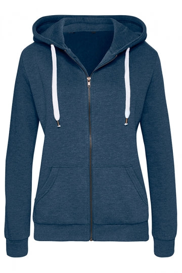 Womens Drawstring Slant Pockets Zipper Sport Plain Hoodie Navy Blue