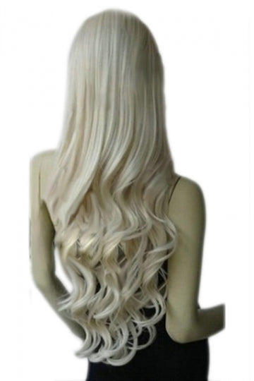 Beige Classic Womens Long and Curly Hair Wig